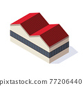 Factory isometric. Architecture of manufactures house. Industrial bulding. Concept of industrial working plant. Vector flat style 77206440