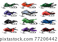 Collecetion of isolated cartoon snowmobiles. Equipment for winter ride. Motor sleds, vehicles for extreme travelling on snow and ice, winter recreation. Vector snow motorcycles on white background 77206442