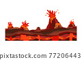 Game landscape. Cartoon design nature. Landscape of the valley of volcanoes from which lava breaks out 77206443