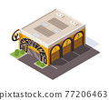 Isometric auto service. Car service top view concept. Repair service template with garage doors. Modern building with the inscription autoservice 77206463