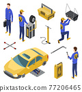 Isometric auto service. Car service top view concept with workers repairing. Element to repair vehicle repair service. People and technics 77206465