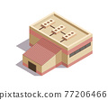 Isometric mining industry and power generating. Composition with image of factory building. Plant or other industrial facility 77206466