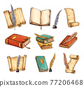 Collection of old books and antique quills. Education and wisdom concept. Vector icons for education and literature theme design. Vintage books and feathers icons 77206468