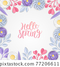 Background of paper flowers. Graphic design for spring season. paper cut and craft style. vector, illustration. 77206611