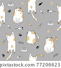 Seamless pattern with cute cats . Creative kids hand drawn texture Vector illustration 77206623