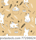 Seamless pattern with cute cats . Creative kids hand drawn texture Vector illustration 77206624