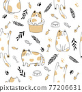 Seamless pattern of simply drawing kitty in various acting isolated on white background. 77206631
