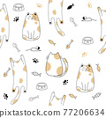 Seamless pattern of simply drawing kitty in various acting isolated on white background. 77206634