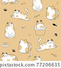 Seamless pattern with cute cats . Creative kids hand drawn texture Vector illustration 77206635
