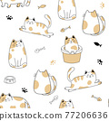 Seamless pattern with cute cats . Creative kids hand drawn texture Vector illustration 77206636