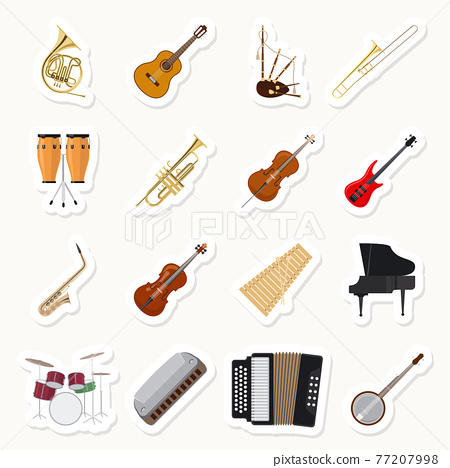 Musical instruments stickers set 77207998