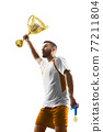 Soccer winner isolated. Soccer player holds a cup in his hands. The winner of the soccer cup. Vertical. 3d 77211804