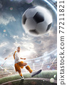 Power soccer kick. A soccer player kicks the ball in stadium. Professional soccer player in action. Wide angle. Vertical. 3d 77211821