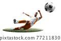 A soccer player kicks the ball. Isoalted 77211830
