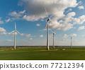 Wind turbines aerial view 77212394