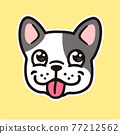 Cartoon French Bulldog face 77212562