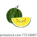 西瓜 水彩畫 橫截面 77218887