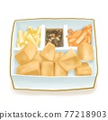 Stinky tofu, a digital painting of Taiwanese traditional deep fried beancurd food raster 3D illustration isolated on white background. 77218903