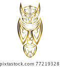 gold line art of owl. Good use for symbol, mascot, icon, avatar, tattoo, T Shirt design, logo or any design you want. 77219328