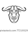 Line Vector Illustration front view of Bull. It is signs of the taurus zodiac. 77219329