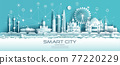 Technology wireless network communication smart city with icon in Finland. 77220229