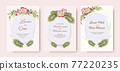 Collection wedding invitation card vintage set pink roses watercolor. 77220235