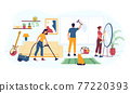 House cleaning. Housekeeping work. Woman vacuuming carpet at home. Man washing window. Girl polishing mirror. People doing homework using cleansers and equipment. Vector maid occupation 77220393