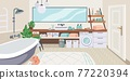 Bathroom interior. Cartoon toilet room with bathtub and washing machine. Mirror over enamel sink. Houseplants in pots. Wooden shelves for toiletries or cosmetics. Vector restroom furnishing 77220394