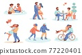 Dating couple. Romantic boy and girl spend time together. People in love riding bicycle and ice skates. Happy persons hugging or dancing. Pair of lovers eating in cafe, vector scenes set 77220401