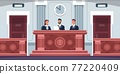 Court. Cartoon courtroom interior with judges sitting at desk in uniform. Tribunal process. Lawyers review lawsuit documents. Spacious trial hall with wooden tables, vector illustration 77220409