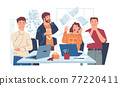 Chaos in office. Stressed workers with shock reaction. Surprised people look at flying pages. Mess in workplace with spilled coffee and blown away papers. Vector sheets thrown into air 77220411