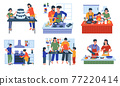 Food preparing. Cartoon families and friends cooking at home. Mother with daughter baking holiday cake. Couple frying vegetables and meat for lunch together. Vector kitchen interiors 77220414