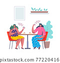 People at cafe. Cartoon women drink coffee with cakes. Females sit at table in restaurant. Characters holding cups in hands. Steam rises from mug. Vector happy persons spend time together 77220416