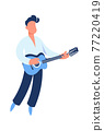 Guitar player. Cartoon guitarist playing music. Man holding string acoustic instrument. Cute performer. Musician standing on stage. Jazz or rock band singer. Vector musical festival 77220419