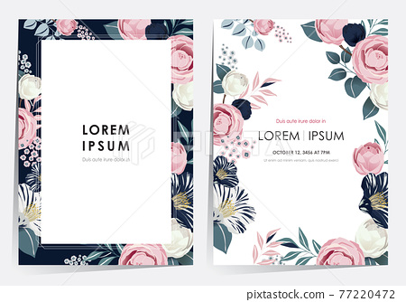 Vector illustration of a beatiful floral frame set in spring for Wedding, anniversary, birthday and party. Design for banner, poster, card, invitation and scrapbook  77220472