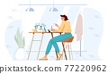 Flat woman work in cafe with tablet 77220962