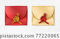Realistic vintage envelopes with red wax seals 77220965