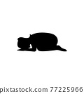 black silhouette design with isolated white background of woman prostrate oneself 77225966