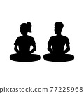 black silhouette design with isolated white background of couple meditate 77225968