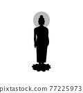 black silhouette design with isolated white background of lord of buddha standing 77225973