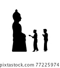 black silhouette design with isolated white background ofcouple meke merit to buddha sculpture 77225974