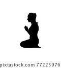black silhouette design with isolated white background of woman pay respect in buddhism style 77225976