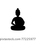 black silhouette design with isolated white background of lord of buddha mediatating 77225977