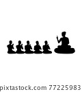 black silhouette design with isolated white background of lord of buddha teaching five ascetics 77225983