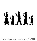 black silhouette design with isolated white background of monk and buddhist walk with lighted candles in hand around a temple 77225985