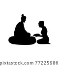 black silhouette design with isolated white background of lord of buddha receive food from woman 77225986