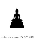 black silhouette design with isolated white background of buddha sculpture 77225989