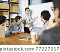 young asian business executive facilitating a discussion or brainstorm session in meeting room 77227317
