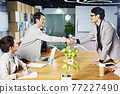 young asian business people shaking hands smiling before meeting or negotiation 77227490