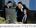 Business team working overtime late at night in call center office. Concept for business at night. 77227518
